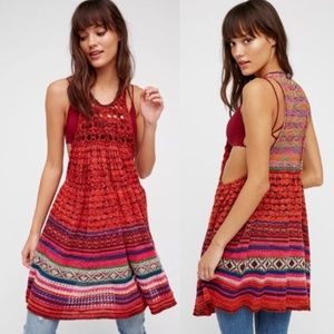 NWT Free People Rare Hearts Crochet Tunic